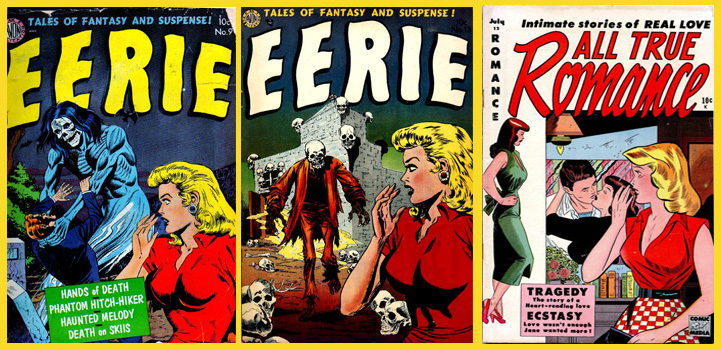 Covers of Eerie #9 & 13 by Avon Publications and All True Romance #12 by Comic Media